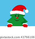 cute cristmas tree with red cap 43766106