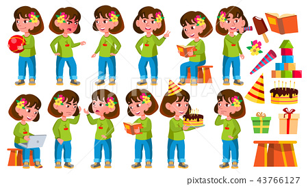 Girl Kindergarten Kid Poses Set Vector. Little Child. Funny Toy. Lifestyle. For Advertising, Placard 43766127