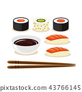 Colorful sushi set of different types chopsticks with soy sauce 43766145