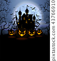 Halloween background with scary pumpkins and Dracula castle 43766910