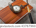 Diary with fountain pen and vintage pocket watch 43767960