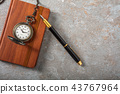 Diary with fountain pen and vintage pocket watch 43767964
