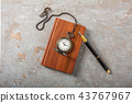Diary with fountain pen and vintage pocket watch 43767967