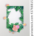 Summer sale banner with tropical leaves , 43768815