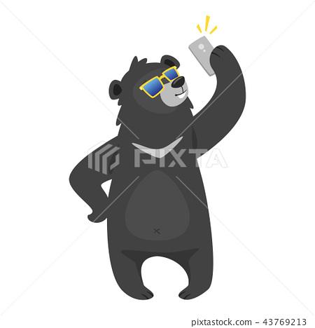 cartoon black cool bear 43769213