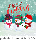 happy snowmen illustration 43769222