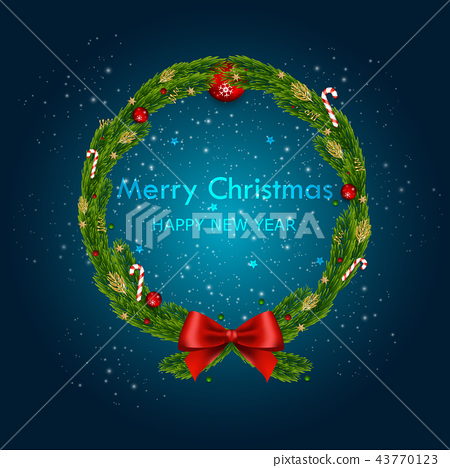 Christmas and Happy New Year Vector Background. 43770123