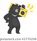 cartoon black cool bear 43770206