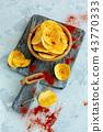 Potato chips with sea salt and paprika. 43770333