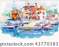 fishing village in watercolor style 43770383
