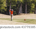 女高爾夫球運動員發球區域射擊戲劇圖像圖像材料 43770385