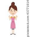 一個年輕成年女性 矢量 握拳 43771014