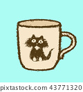 Large cup with cat head sticker. Vector 43771320