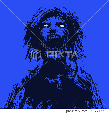Creepy zombie woman head. Vector illustration 43771330
