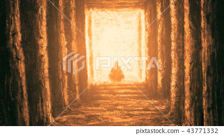 Ancient unknown temple of destiny. Orange color 43771332