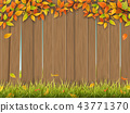 old wooden fence autumn tree and grass 43771370