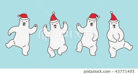 Bear vector polar bear Christmas Santa Claus hat 43771405