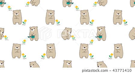 bear seamless pattern polar bear vector flower 43771410