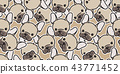 Dog seamless pattern vector french bulldog pug 43771452