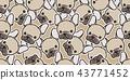 Dog seamless pattern vector french bulldog pug 43771452