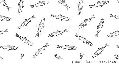 fish salmon seamless pattern vector dolphin shark  43771460