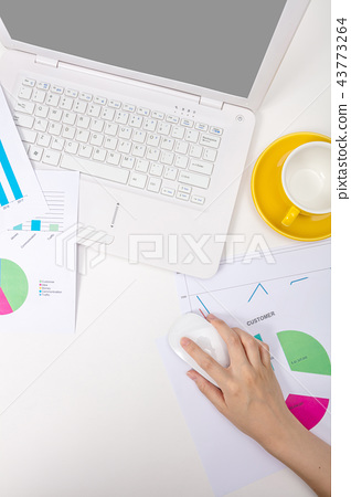 Modern office workplace with notebook, reports 43773264