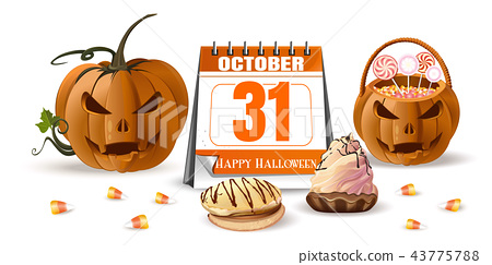 Halloween design with Jack o lantern and sweets 43775788
