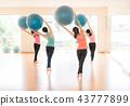 Asian women doing yoga in yoga class 43777899