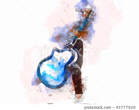 Playing acoustic Guitar foreground watercolor. 43777920