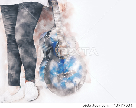 Playing acoustic Guitar foreground watercolor. 43777934