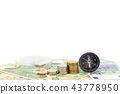 compass and coins on money banknotes  43778950