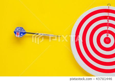 Dart arrow on target dartboard ,Business success 43781446