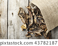 dried mushrooms scattered 43782187