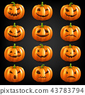 Pumpkin Set Isolated Black Background 43783794