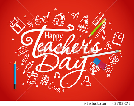 Happy teachers day greeting card - Stock Illustration