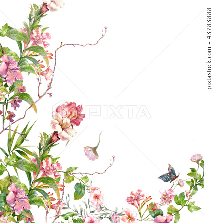 watercolor painting of leaves and flower, on white 43783888