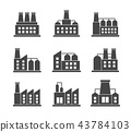 Vector set of factories related icons. Industrial building factory symbol and sign on white 43784103