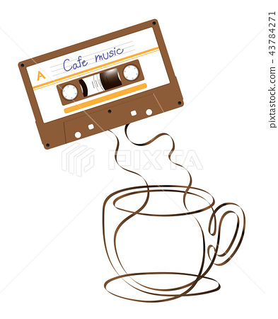 Compact audio cassette brown color and Coffee cup 43784271