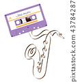 Compact audio cassette violet color and saxophone 43784287