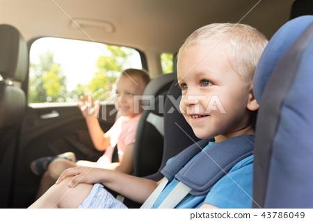 Boy buckled into car seat 43786049