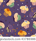 Happy Halloween cupcakes with cute halloween elements - seamless pattern 43786986