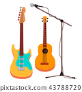 Guitar Vector. Electric, Classic. Microphone With Stand. String Musical Instrument. Isolated Cartoon 43788729