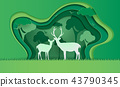 Deer in forest with snow, vector paper art. 43790345