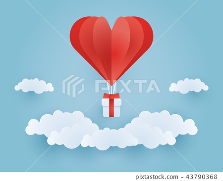Origami made couple in hot air balloon flying on clouds and sky ...   366x450