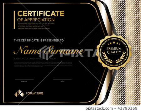 Diploma Certificate Template Black And Gold Color Stock