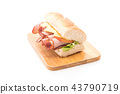 Ham and salad submarine sandwich 43790719