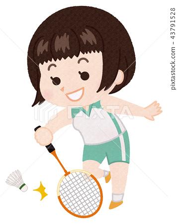 羽毛球 運動 一個年輕成年女性 43791528