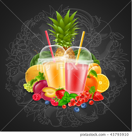 Fruit and berries smoothie 43793910