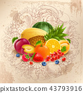 Fruit and berries round design 43793916