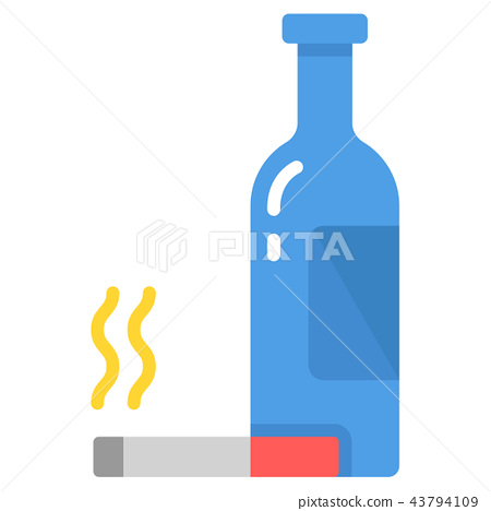 Alcoholism addict flat illustration 43794109